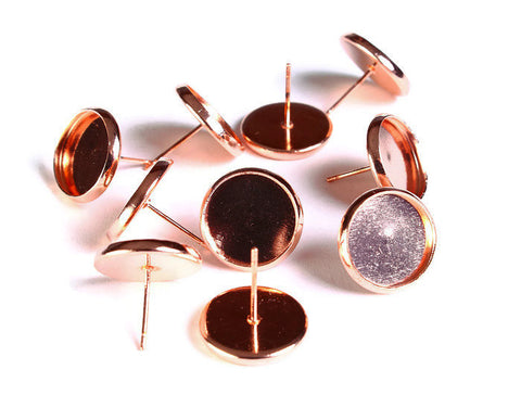 12mm earstud Rose gold findings - fits 12mm cabochons - lead free - cadmium free - 10 pieces (5 pairs) (1630)