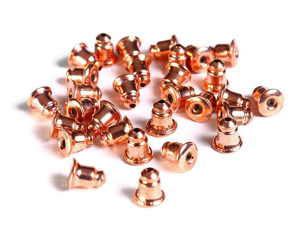 Bullet back stopper in rose gold tone - earring stoppers - Metal Earring Backs - Earnut Clutch - 6mm x 5mm - 30 pieces (1631)