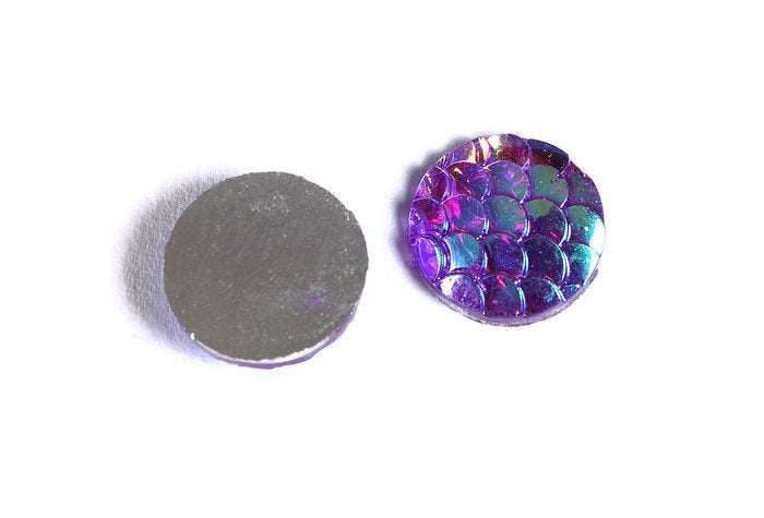 12mm Purple AB cabochon - Mermaid cabochon Fish scale cabochon - Dragon scale - Snake Skin cabochon - 6 pieces (1626)