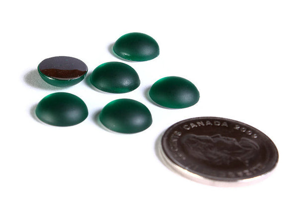 11mm Emerald green frosted cabochon - Green frosted cabochon - acrylic round cabochons with silver foil - 6 pieces (1639)