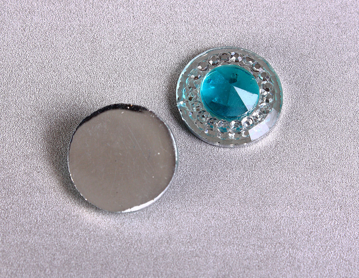 12mm Silver blue round resin cabochon - Textured cabochon with silver foil - Textured cabochons - 6 pieces (1659)