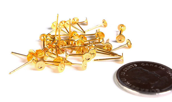 4mm gold earstud - gold tone earstud - flat pad earrings - lead free - cadmium free - 50 pieces (1670)