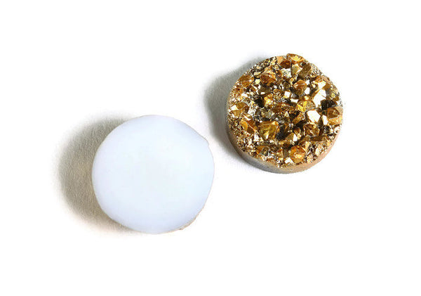 12mm Gold round resin cabochon - Faux druzy cabochon - Faux drusy cabochon - Textured cabochons - 8 pieces (1652)