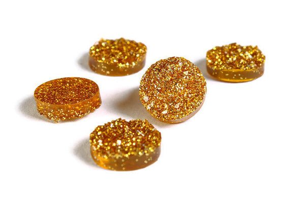 12mm Gold round resin cabochon - Faux druzy cabochon - Faux drusy cabochon - Textured cabochon - Glitter cabochon - 6 pieces (1653)