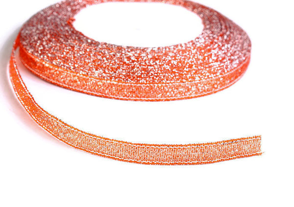 6mm Sparkle coral ribbon - Coral satin ribbon - Metallic Sparkle Ribbon - Spool ribbon - 25 yards - 75 feet (R049)