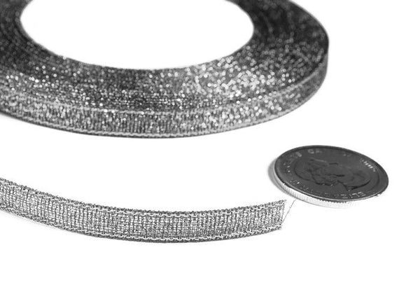 6mm Silver Sparkle ribbon - Satin ribbon - Metallic Sparkle satin ribbon - Spool ribbon - 25 yards - 75 feet (R054)