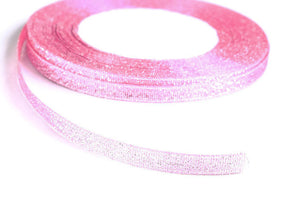 6mm Sparkle pink silver ribbon - Satin ribbon - Metallic Sparkle satin ribbon - Spool ribbon - 25 yards - 75 feet (R052)