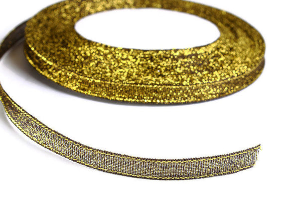 6mm green gold Sparkle ribbon - Satin ribbon - Metallic Sparkle satin ribbon - Spool ribbon - 25 yards - 75 feet (R060)
