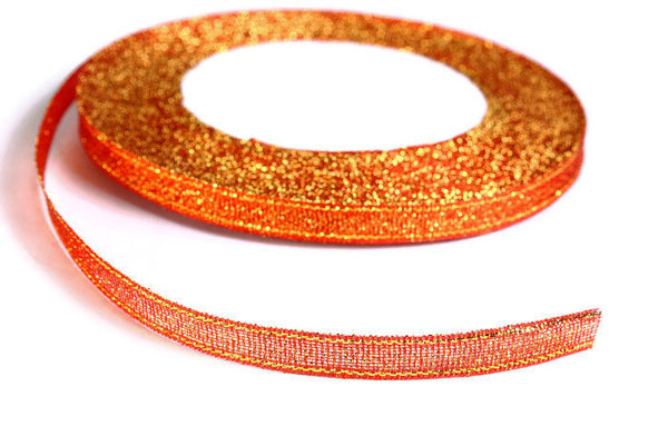 6mm Red gold Sparkle ribbon - Satin ribbon - Metallic Sparkle satin ribbon - Spool ribbon - 25 yards - 75 feet (R062)