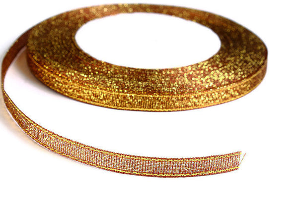 6mm Peru brown gold Sparkle ribbon - Satin ribbon - Metallic Sparkle ribbon - Spool ribbon - 25 yards - 75 feet (R063)