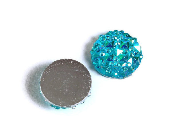12mm Teal blue green AB round resin cabochon - Faux druzy cabochon - Faux drusy cabochon - Textured cabochons - 8 pieces (1673)