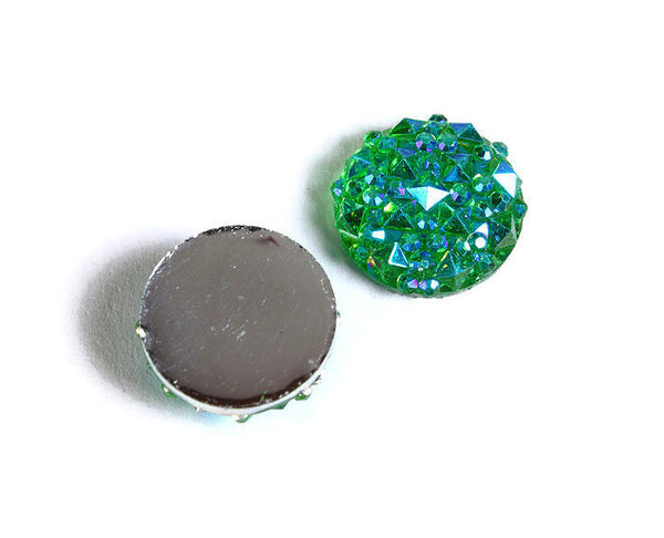 12mm Green AB round resin cabochon - Faux druzy cabochon - Faux drusy cabochon - Textured cabochons - 6 pieces (1678-)
