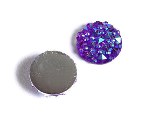 12mm Purple AB round resin cabochon - Faux druzy cabochon - Faux drusy cabochon - Textured cabochons - 8 pieces (1677)