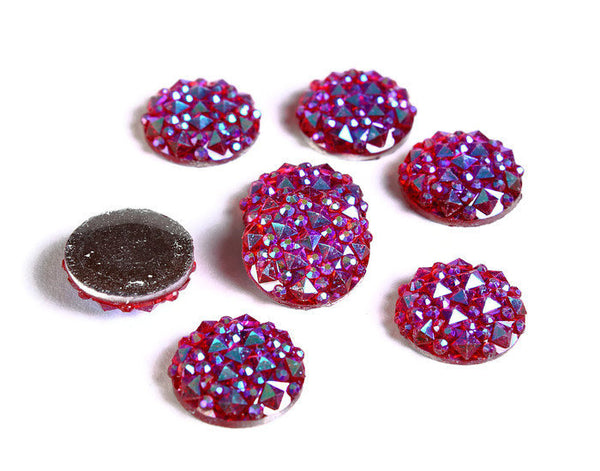 12mm Red AB round resin cabochon - Faux druzy cabochon - Faux drusy cabochon - Textured cabochons - 8 pieces (1672)