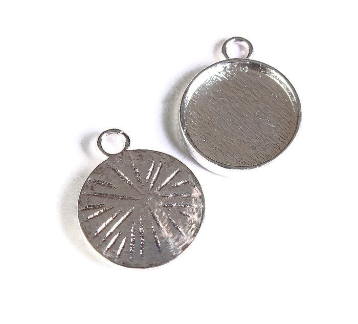 12mm Silver tray Pendant - 12mm cabochon settings - Silver findings - nickel free - lead free - 10 pieces (1687)