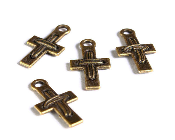 Antique brass cross pendant - antique brass cross charm - 22mm x 12mm - Lead free - Nickel free - 5 pieces (1691)