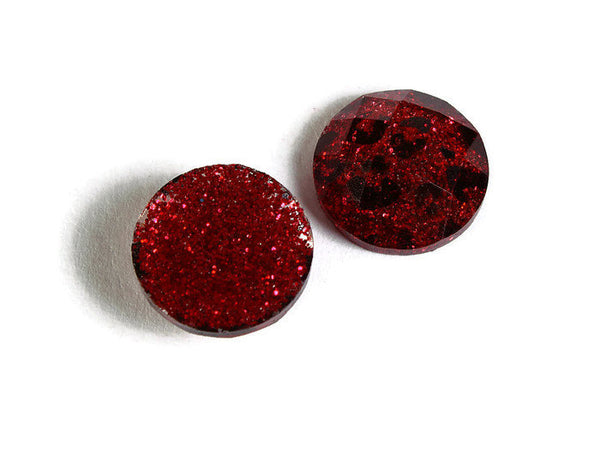12mm Red Leopard cabochon - Animal print cabochons - Cheetah cabochon - 12mm faceted cameos - Glitter cabochons - 6 pieces (1721)