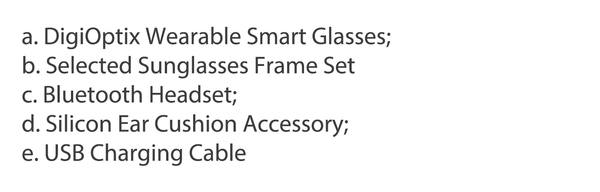 a. DigiOptix Wearable Smart Glasses;  b. Selected Sunglasses Frame Set  c. Bluetooth Headset;  d. Silicon Ear Cushion Accessory;  e. USB Charging Cable
