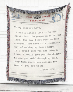 FOAL14 Personalized Woven Blanket, Anniversary Blanket, Telegram Vow, Woven Cotton, Size S-L