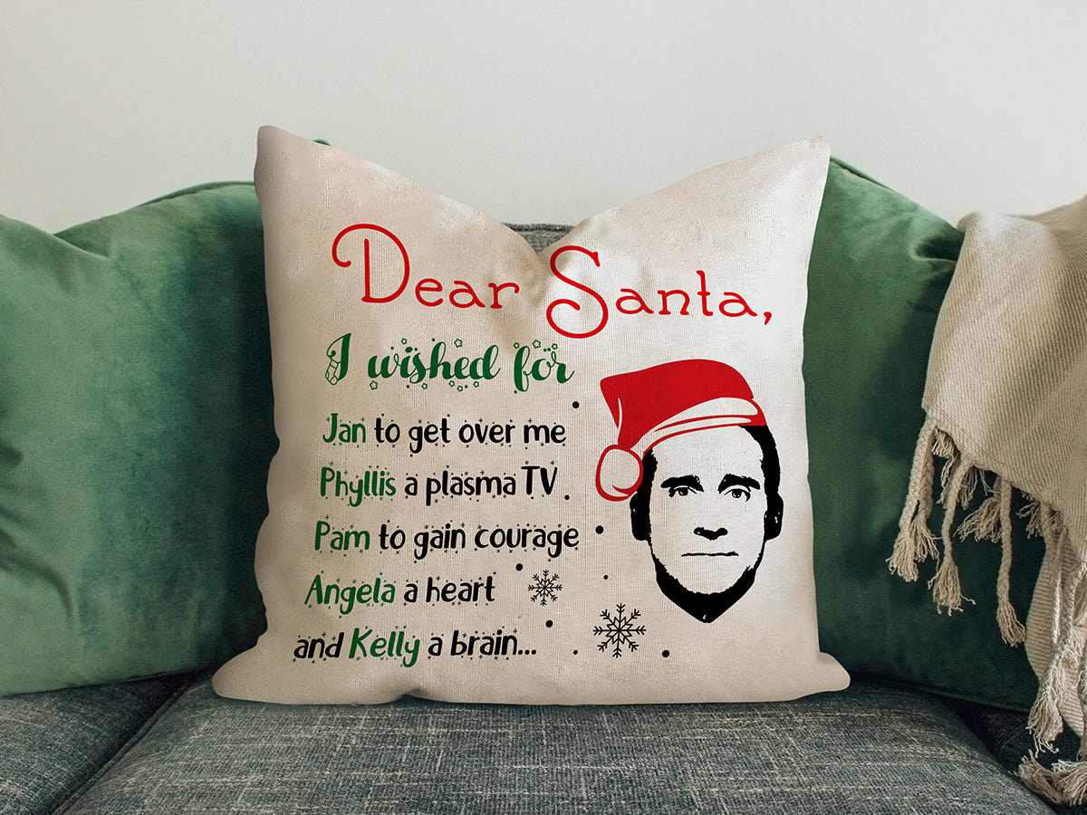 FOAL14 The Office Pillow, Dear Santa Wishes By Michael Scott, Polyester, Size S-L