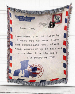 FOAL14 Personalized Woven Blanket, Family Blanket, Military Airmail, Woven Cotton, Size S-L