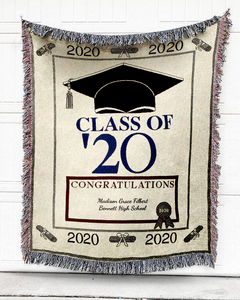FOAL14 Personalized Woven Blanket, Graduation Blanket, Class Of '20, Woven Cotton, Size S-L