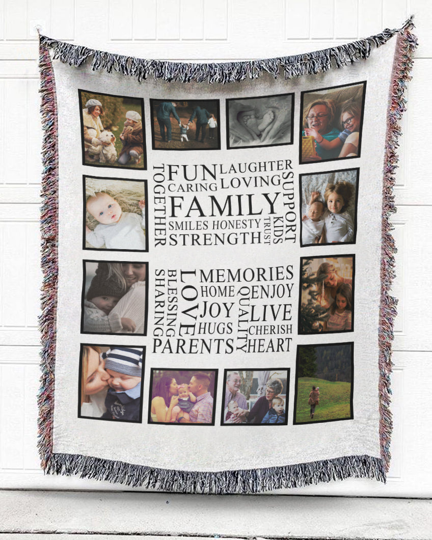 FOAL14 Personalized Woven Blanket, Family Memories, Woven Cotton, Size S-L