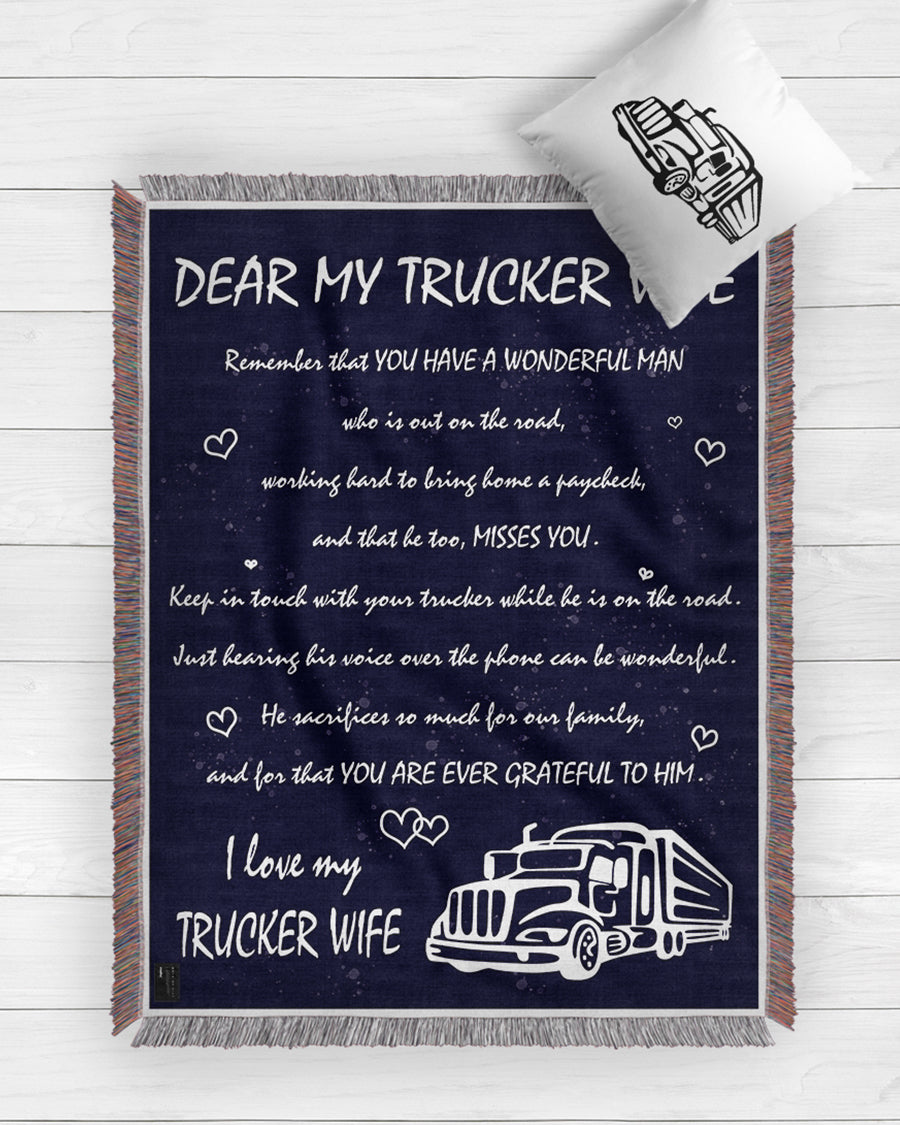 Dear Trucker Wife Blanket 2020