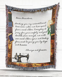 FOAL14 Personalized Woven Blanket, Family Blanket, Grandma's Sewing Machine, Woven Cotton, Size S-L