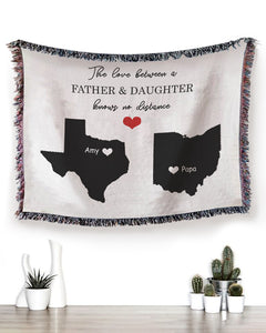 FOAL14 Personalized Woven Blanket, Family Blanket, Father And Daughter, Woven Cotton, Size S-L