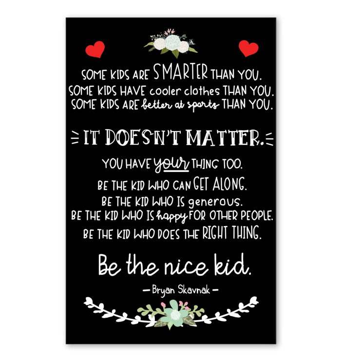 Be The Nice Kid Black Poster (Unframed)