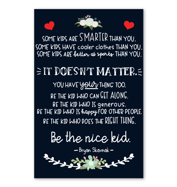 Be The Nice Kid Poster Navy Version