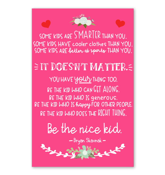 Be The Nice Kid Poster Pink Version