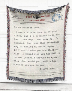 FOAL14 NON- Personalized Blanket, Anniversary Blanket, Telegram Vow, Woven Cotton, Size S-L