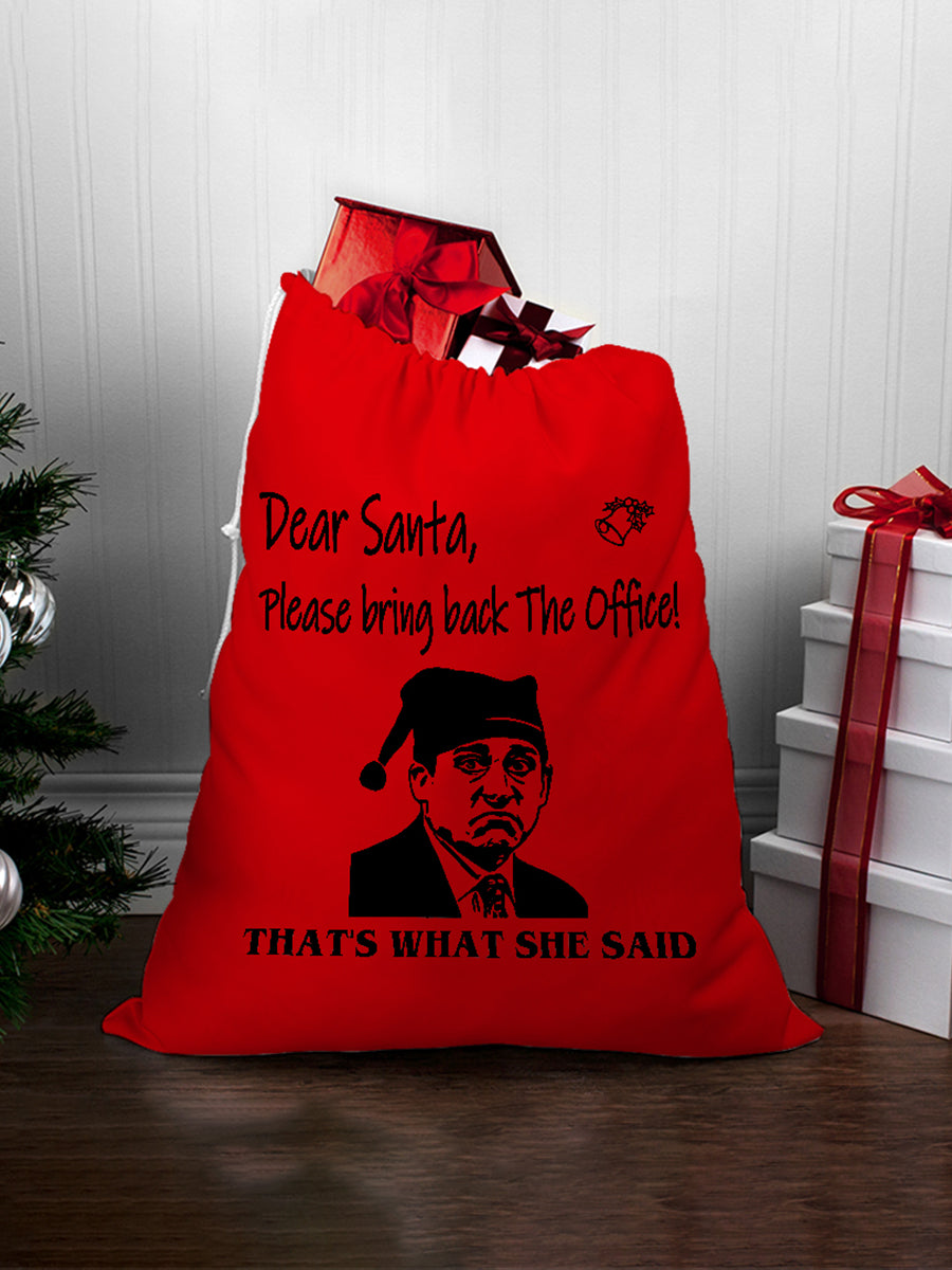 FOAL14 The Office Laundry Bag, Red Dear Santa, Spun Poly, Drawstring top