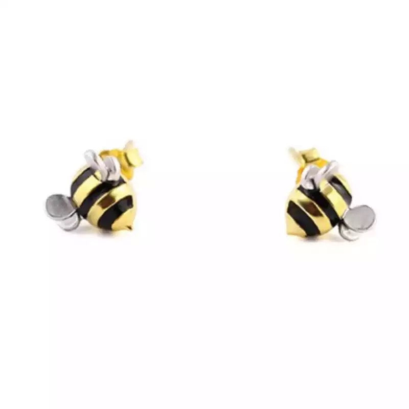 Sterling Silver Cute Bee Earrings