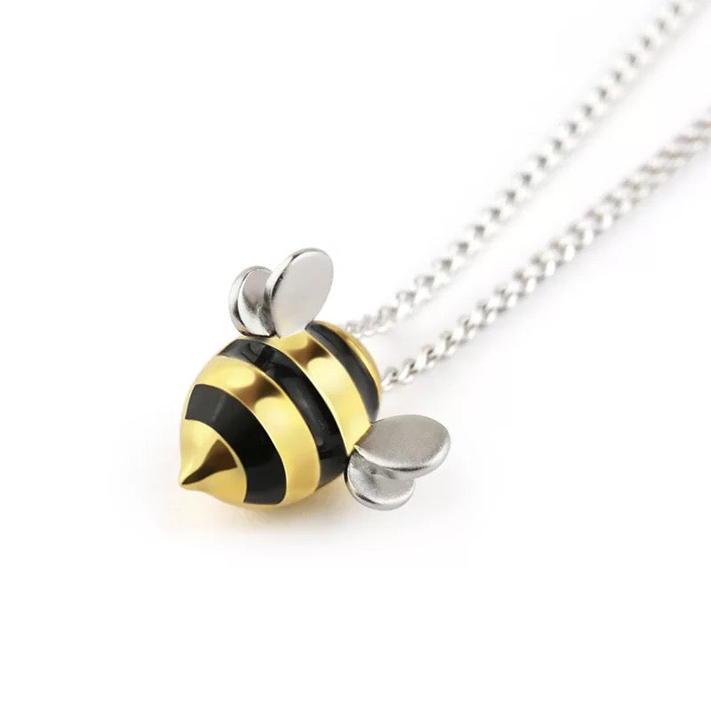 Sterling Silver Cute Bee Necklace