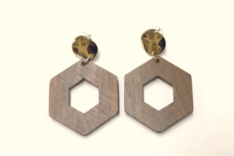 Large Wooden Hexagon Dangle Earrings