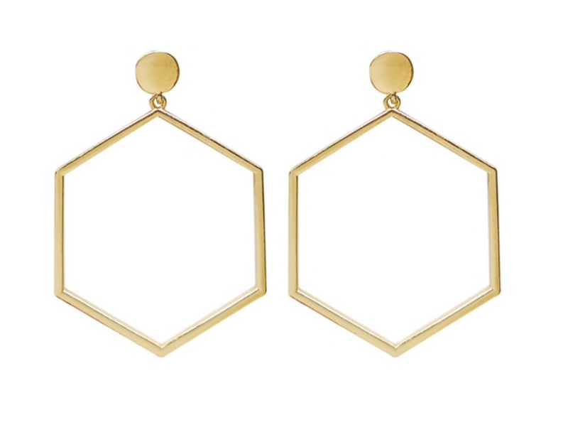 Large Hexagon Dangle Earrings