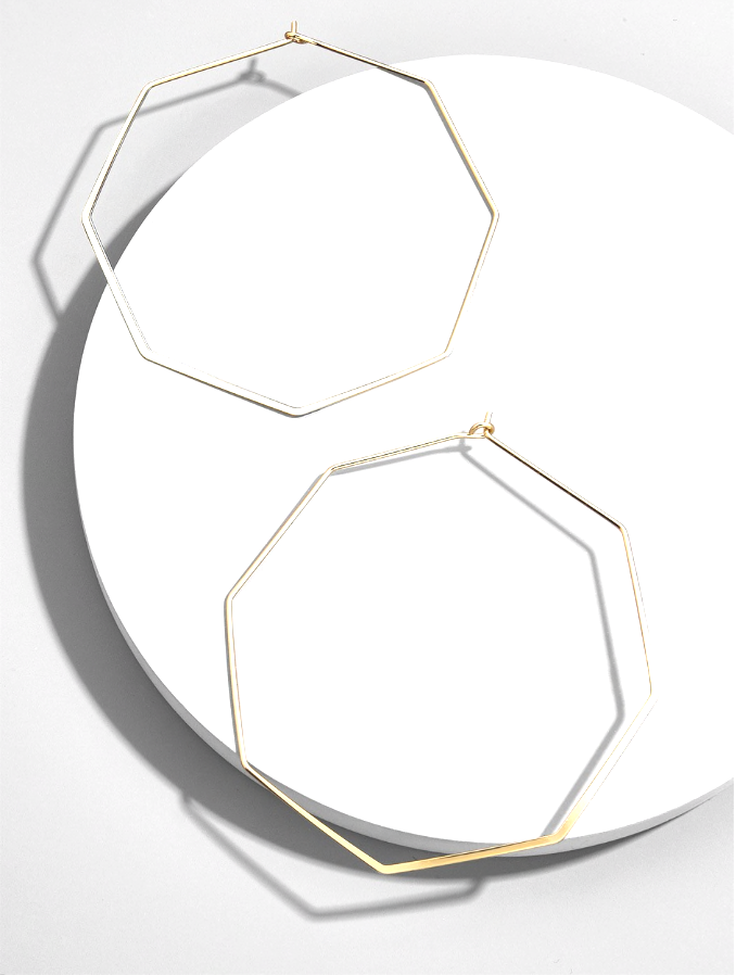 Large Hexagon Gold Hoop Earrings