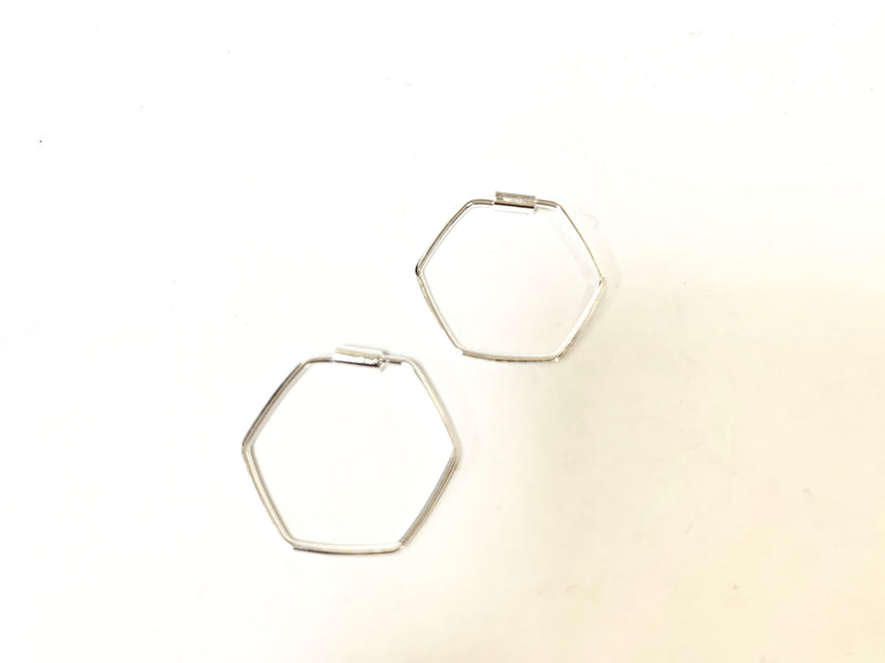 Sterling Silver Hexagon Hoop Earring