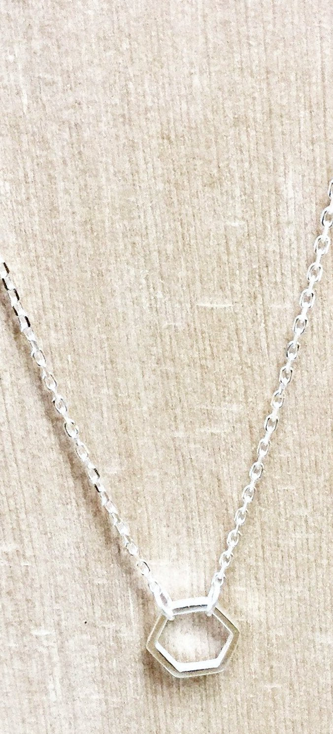 Sterling Silver Hexagon Necklace small~