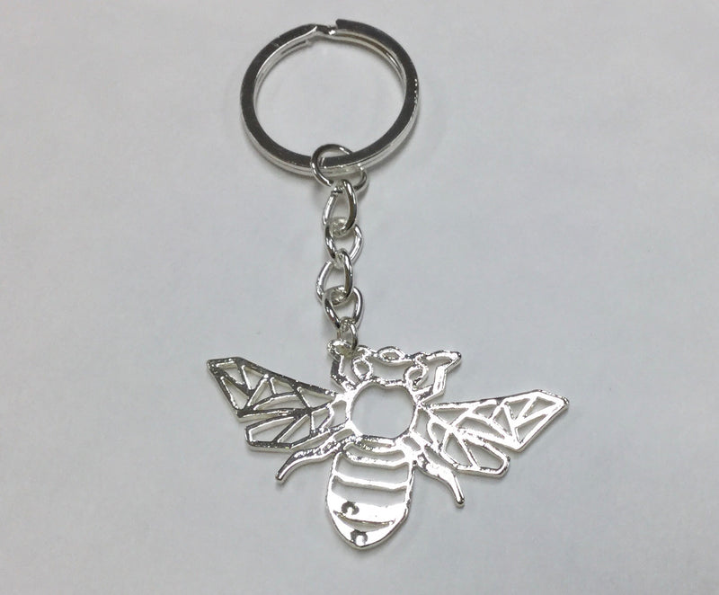Bee Keychain Silver Origami