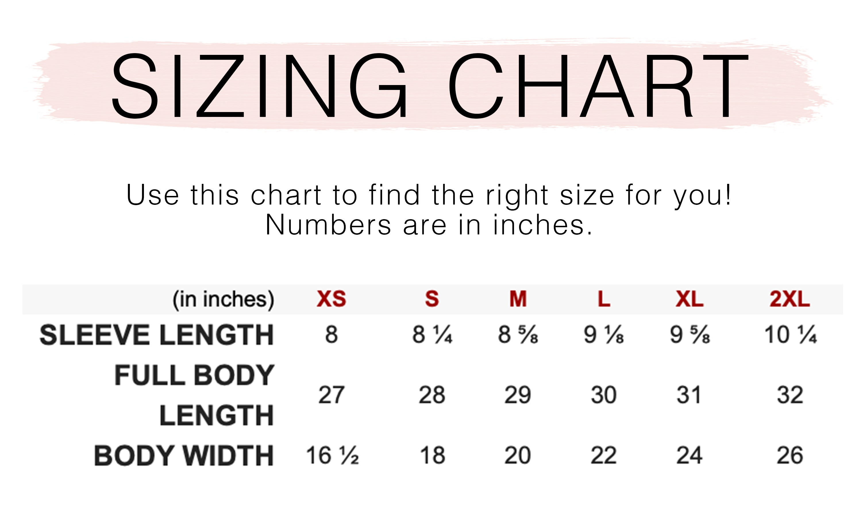 simple & sentimental unisex shirt sizing chart