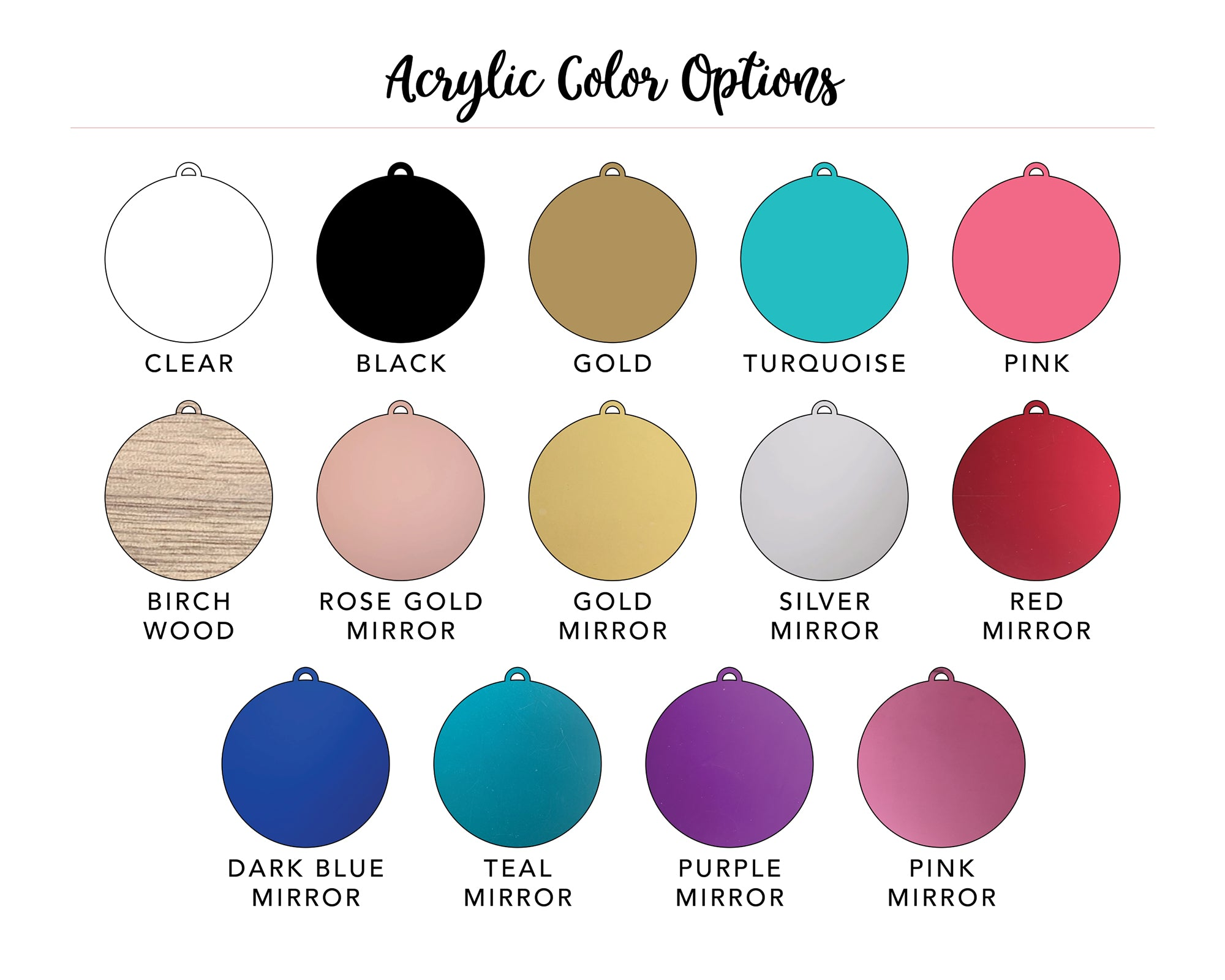 simple & sentimental flat acrylic ornament color options