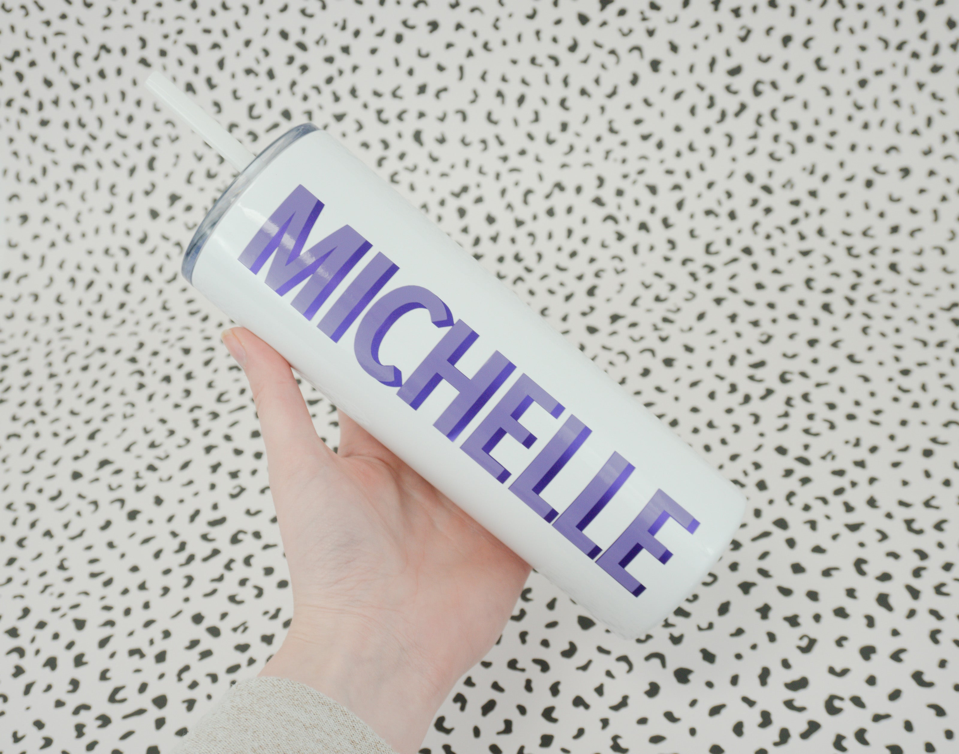 Lavender and purple metallic tumbler