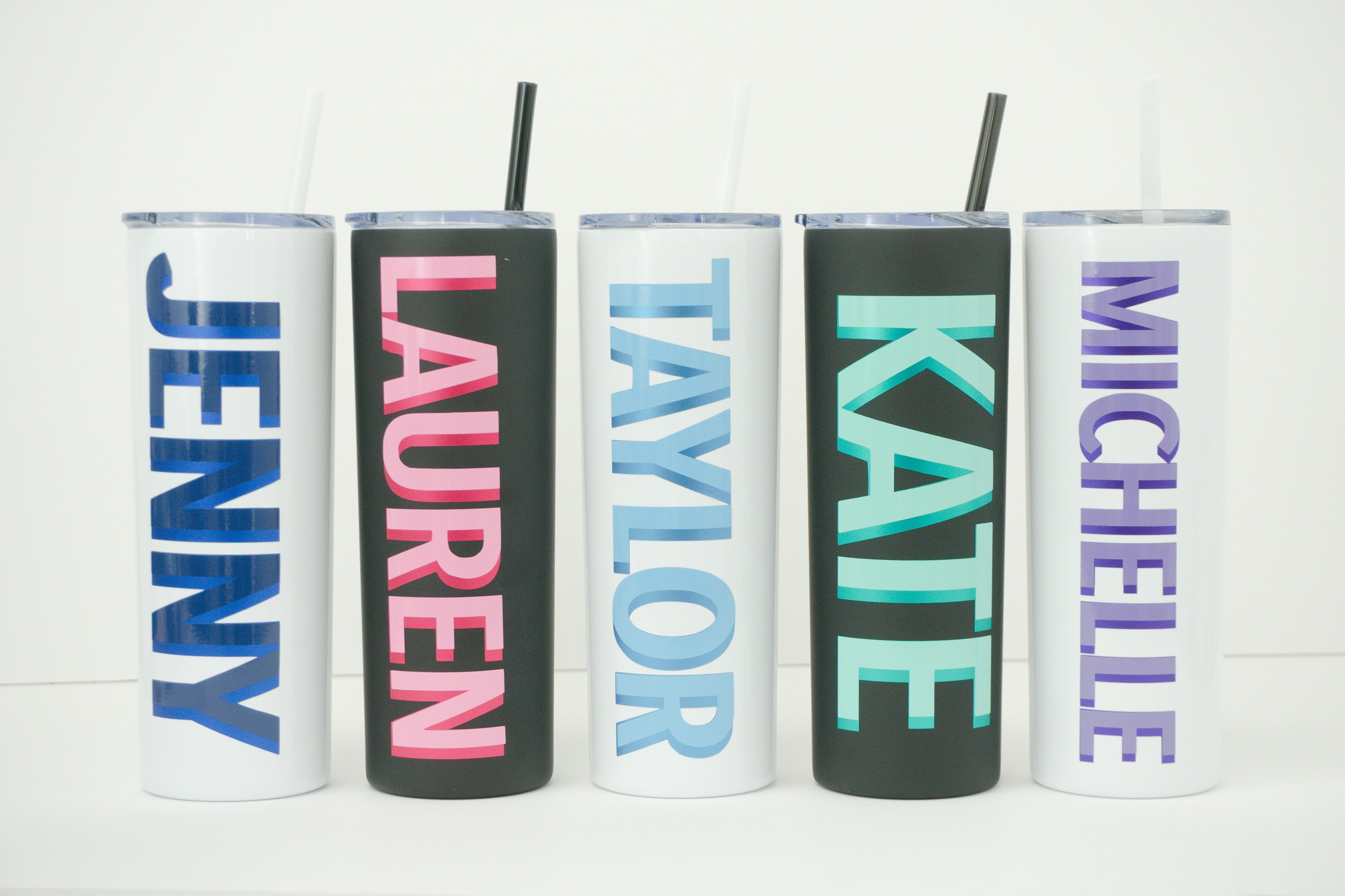 Custom colorful tumblers