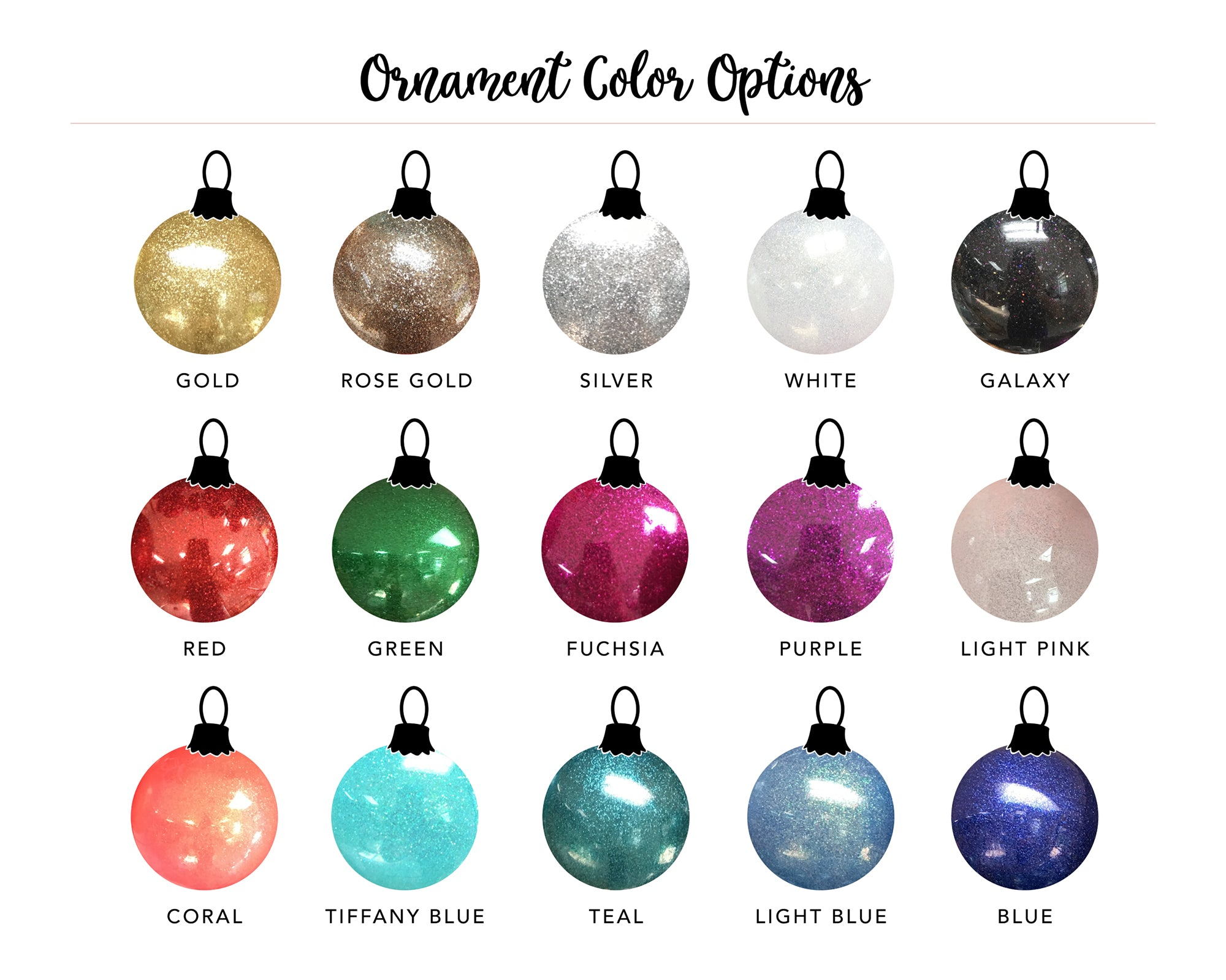 Glitter ball ornament colors