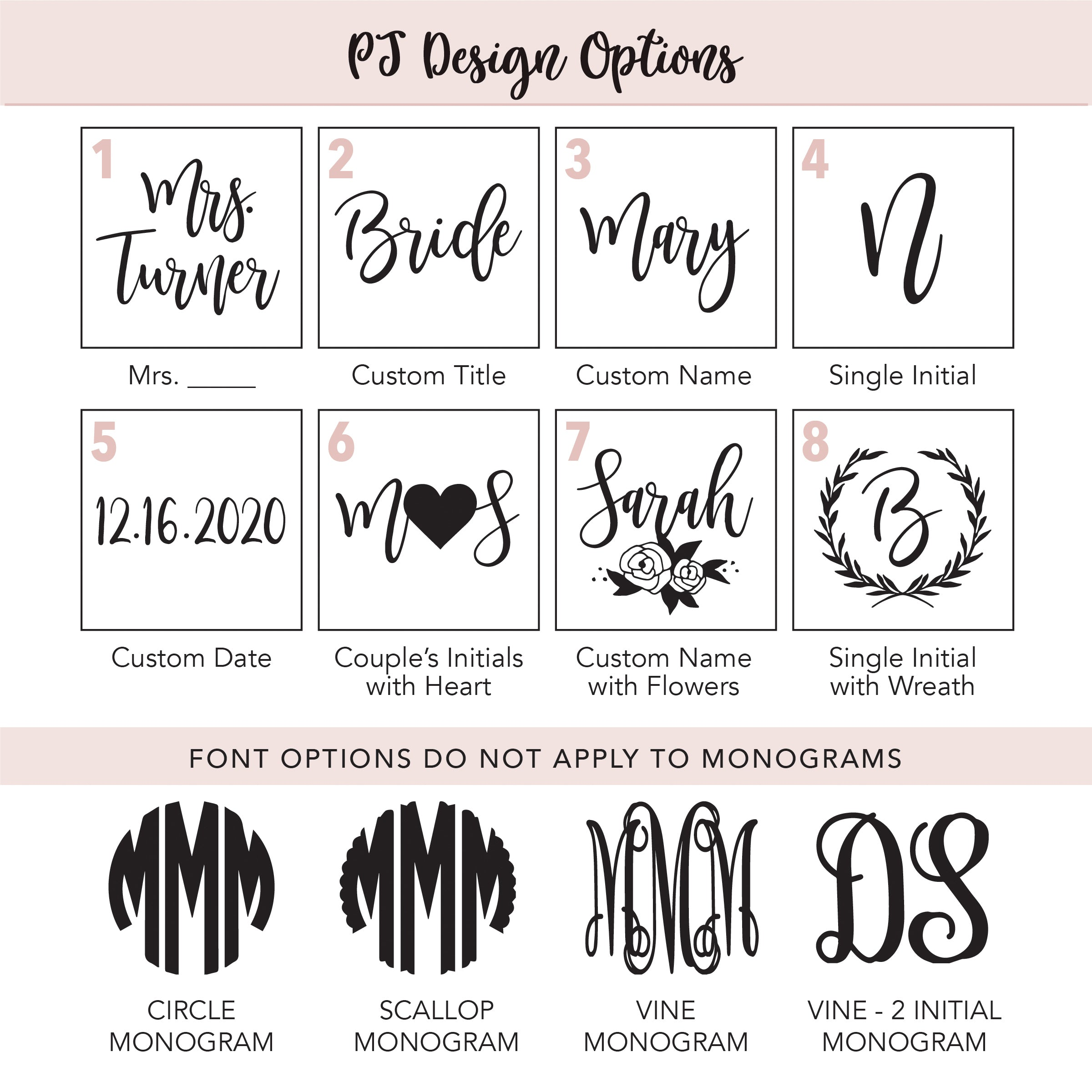 simple & sentimental PJ design options