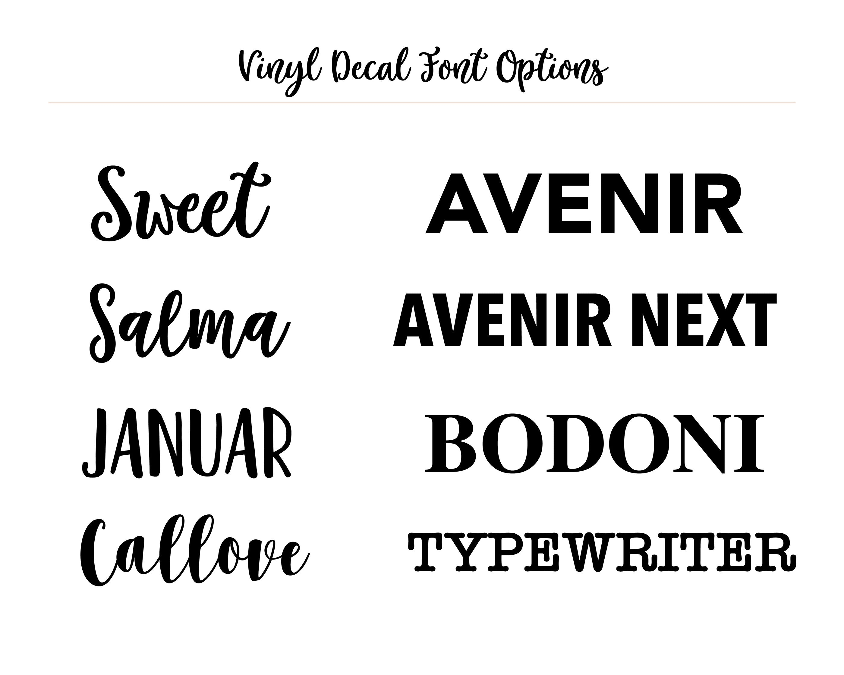 simple & sentimental decal text font options